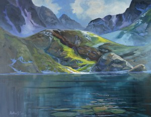 Alpine Lake needed a few paint strokes to finish in my studio.